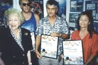 Florida Keys Mayor Wilhelmina Harvey awards DeeVon and Craig Quirolo Conch Award in 1987