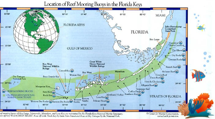 Florida Reefs And Wrecks Map.Florida Reef Mooring Buoy Program In Key West