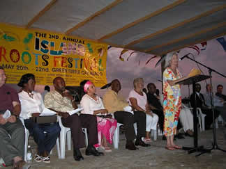 DeeVon on stage at Island Roots Ceremony.